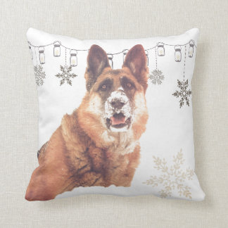 German Shepherd in the Snow Holiday Throw Pillow