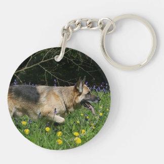 German Shepherd in Yellow Flowers Keychain