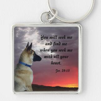 German Shepherd Jeremiah 29:13 Keychain