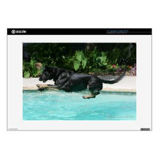 "German Shepherd Jumping in Water Decal For 15"" Laptop"