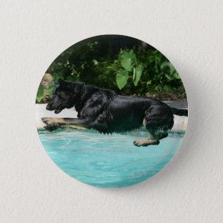 German Shepherd Jumping in Water Pinback Button