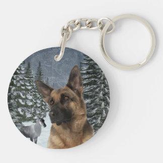 German Shepherd Key Ring Double-Sided Round Acrylic Keychain