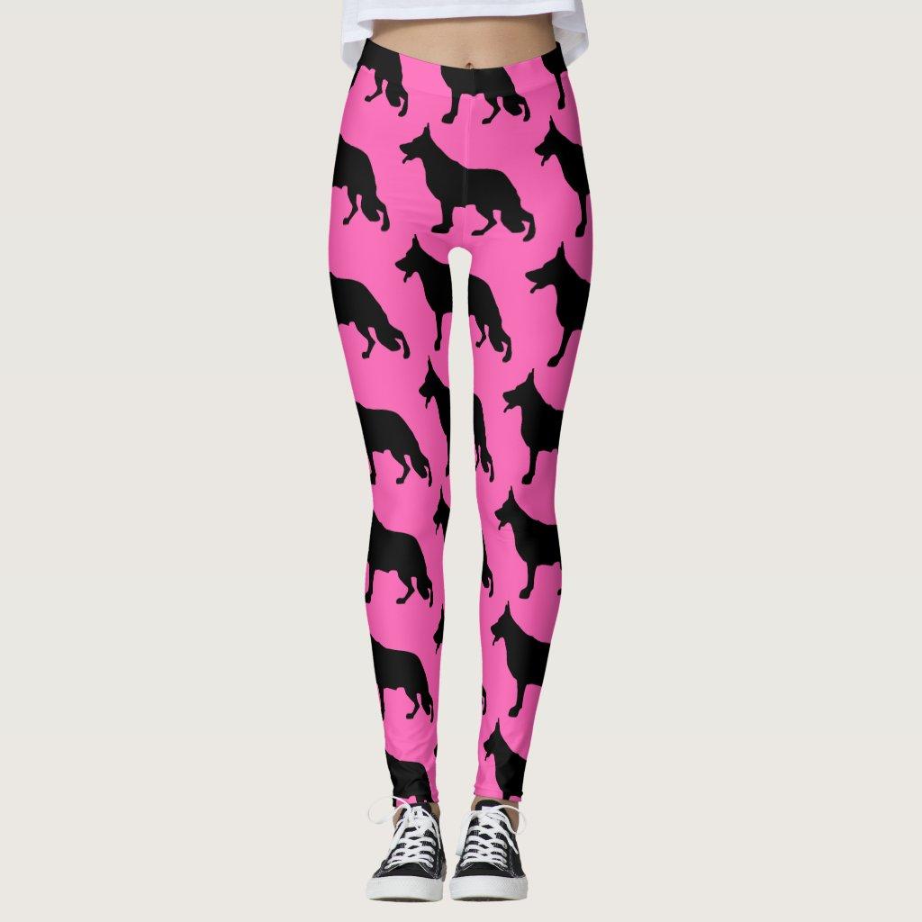Pink German Shepherd Leggings with Black Pattern