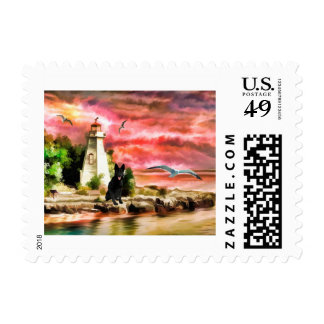 German Shepherd Lighthouse water color art stamp