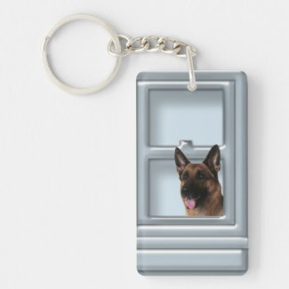 German Shepherd Looking Out The Window Keychain