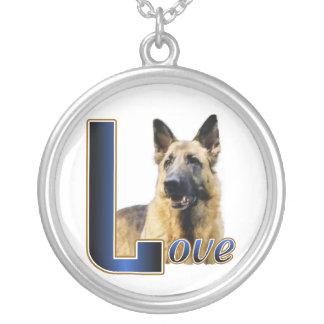 German Shepherd Love Round Pendant Necklace