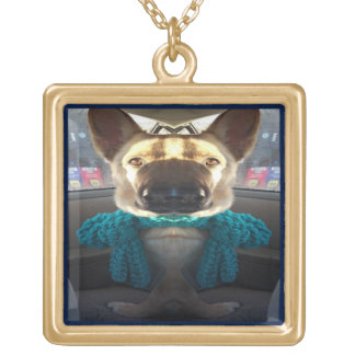 German Shepherd Mirrored Distortion Gold Plated Necklace
