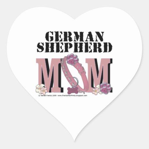 German Shepherd MOM Heart Sticker