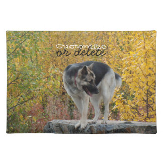 German Shepherd on a Rock; Customizable Placemat