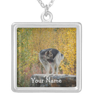 German Shepherd on a Rock; Customizable Square Pendant Necklace
