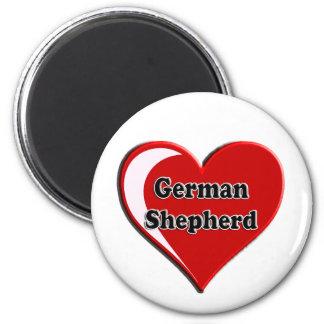 German Shepherd on Heart for dog lovers Magnet
