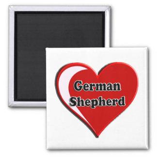 German Shepherd on Heart for dog lovers Refrigerator Magnets