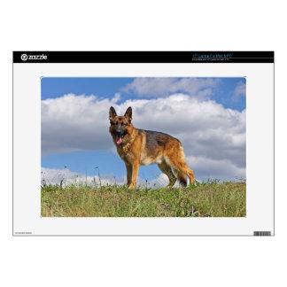 German Shepherd on Hill Laptop Decals