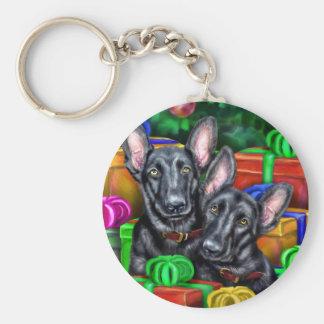 German Shepherd Open Gifts Blk Christmas Basic Round Button Keychain