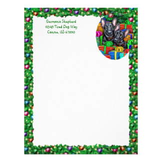 German Shepherd Open Gifts Blk Christmas Letterhead