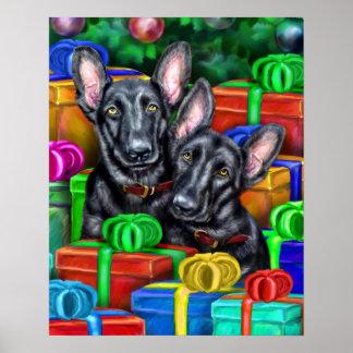 German Shepherd Open Gifts Blk Christmas Poster