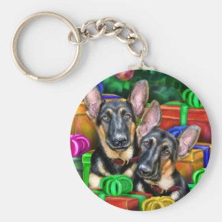 German Shepherd Open Gifts Christmas Basic Round Button Keychain