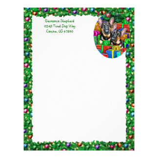 German Shepherd Open Gifts Christmas Letterhead