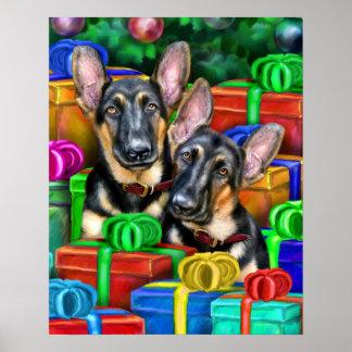 German Shepherd Open Gifts Christmas Poster