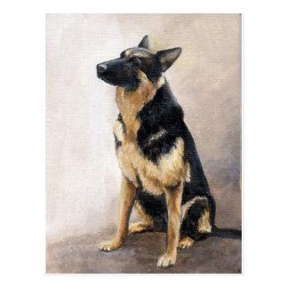 German Shepherd Original Art  Postcard