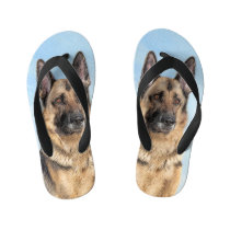 German Shepherd Painting - Cute Original Dog Art Kid's Flip Flops
