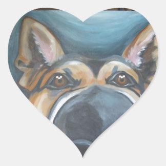 German Shepherd Painting Heart Stickers