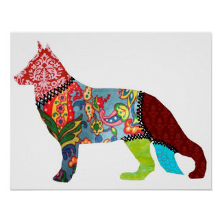 German Shepherd Patchwork Pets Print