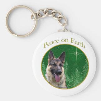 German Shepherd Peace Basic Round Button Keychain