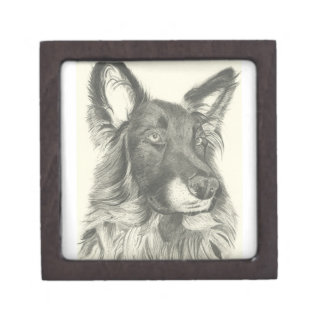 German Shepherd Pencil Drawing Gift Box