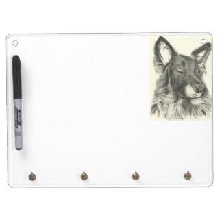 German Shepherd Pencil Drawing Key Dry Erase Board