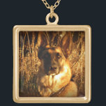"""German Shepherd Pendant Necklace<br><div class=""""desc"""">A stunning photo of a German Shepherd capturing a look that will melt your heart.  Great gift idea for the German Shepherd lover!</div>"""
