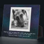 """German Shepherd Pet Memorial with Your Photo Plaque<br><div class=""""desc"""">A memorial to our pets who are gone from this earth but alive in our hearts. You can keep the wonderful photo of the German Shepherd or replace it with your own. It is surrounded by a white, vintage frame against a beautiful, starry background in shades of blues, greens and...</div>"""