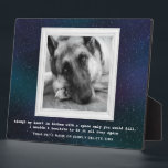 "German Shepherd Pet Memorial with Your Photo Plaque<br><div class=""desc"">A memorial to our pets who are gone from this earth but alive in our hearts. You can keep the wonderful photo of the German Shepherd or replace it with your own. It is surrounded by a white, vintage frame against a beautiful, starry background in shades of blues, greens and...</div>"