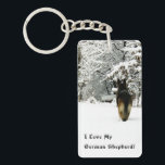 """German Shepherd Photo Keychain<br><div class=""""desc"""">If you love the German Shepherd Dog (and who doesn&#39;t?) don&#39;t be afraid to let everyone know it!  This beautiful photo of a German Shepherd livens up just about anything!  For the German Shepherd lover in your life,  even if that means you!</div>"""