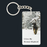 "German Shepherd Photo Keychain<br><div class=""desc"">If you love the German Shepherd Dog (and who doesn&#39;t?) don&#39;t be afraid to let everyone know it!  This beautiful photo of a German Shepherd livens up just about anything!  For the German Shepherd lover in your life,  even if that means you!</div>"