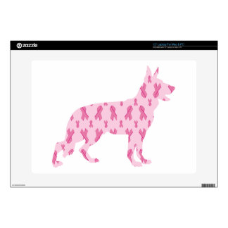 German Shepherd Pink Cancer Ribbons Decals For Laptops