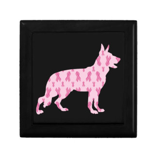 German Shepherd Pink Cancer Ribbons Keepsake Box