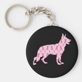German Shepherd Pink Cancer Ribbons Keychain