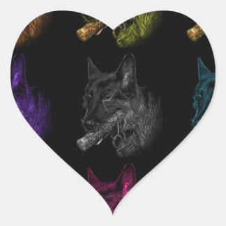 German Shepherd pop art Heart Sticker