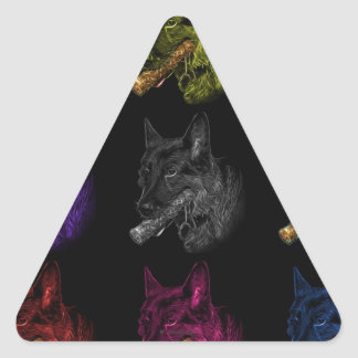 German Shepherd pop art Triangle Sticker