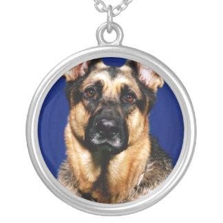 German Shepherd Portrait Round Pendant Necklace