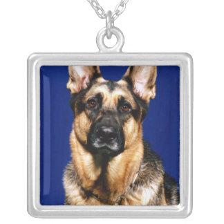 German Shepherd Portrait Square Pendant Necklace