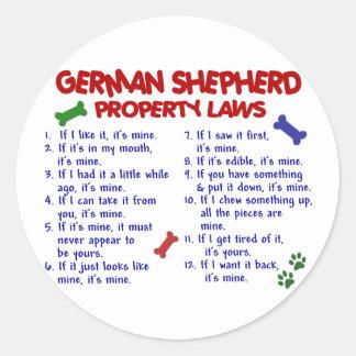 GERMAN SHEPHERD Property Laws 2 Classic Round Sticker