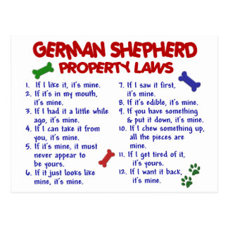 GERMAN SHEPHERD Property Laws 2 Postcard