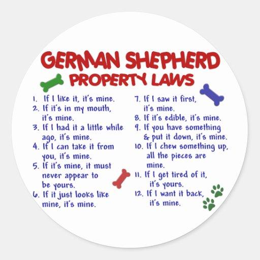 GERMAN SHEPHERD Property Laws 2 Stickers