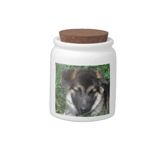 German Shepherd Pup Treats Jar Candy Dishes