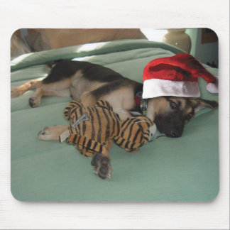 German Shepherd Pup with Santa Hat Mouse Pad