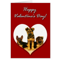 German Shepherd puppies Valentines Day Card