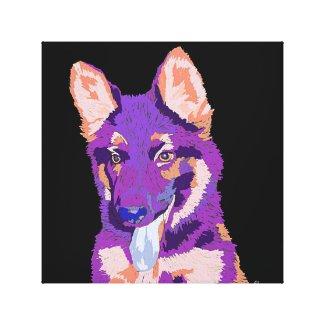 German Shepherd puppy art canvas