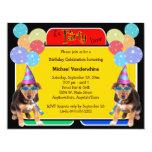 German Shepherd Puppy Birthday Barker 4.25x5.5 Paper Invitation Card
